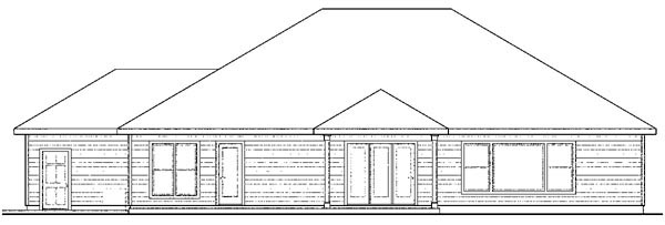 European , Ranch , Traditional House Plan 59407 with 3 Beds, 2 Baths, 3 Car Garage Rear Elevation