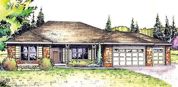 European Ranch Traditional House Plan 59408 Elevation