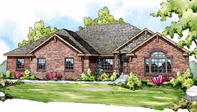 European Ranch House Plan 59409 Elevation
