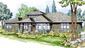 Contemporary Craftsman Prairie Style Southwest House Plan 59410 Elevation