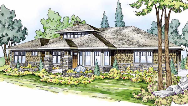 ... Craftsman Prairie Style Southwest House Plan 59410 Elevation