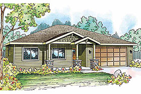 House Plan 59411 | Contemporary Cottage Country Craftsman Ranch Style Plan with 1501 Sq Ft, 3 Bedrooms, 2 Bathrooms, 2 Car Garage Elevation