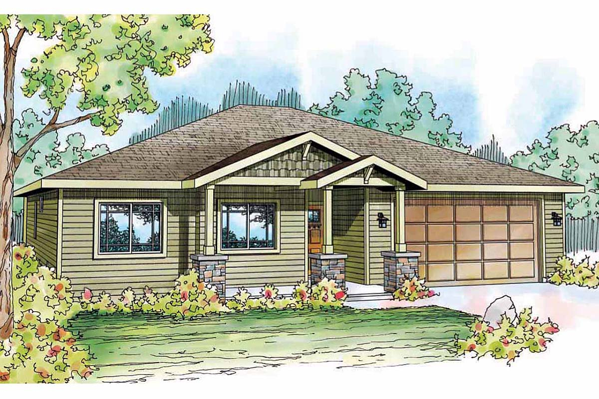 Contemporary Cottage Country Craftsman Ranch House Plan 59411 Elevation