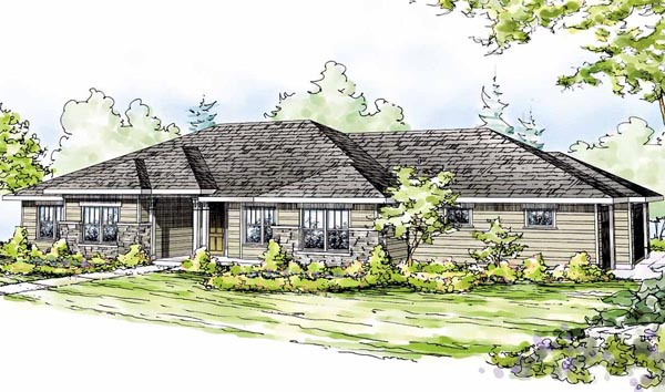 Craftsman , European , Ranch House Plan 59415 with 4 Beds, 3 Baths, 3 Car Garage Elevation