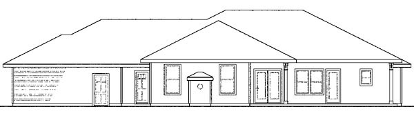 Craftsman , European , Ranch House Plan 59415 with 4 Beds, 3 Baths, 3 Car Garage Rear Elevation