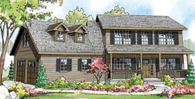 Cape Cod Colonial Cottage Country House Plan 59416 Elevation