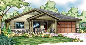 House Plan 59417 | Bungalow Contemporary Cottage Craftsman Ranch Style Plan with 1501 Sq Ft, 3 Bedrooms, 2 Bathrooms, 2 Car Garage Elevation
