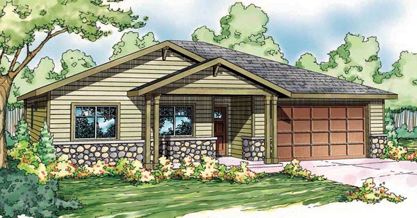 Bungalow Contemporary Cottage Craftsman Ranch House Plan 59417 Elevation