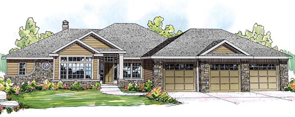 Country European Ranch House Plan 59419 Elevation