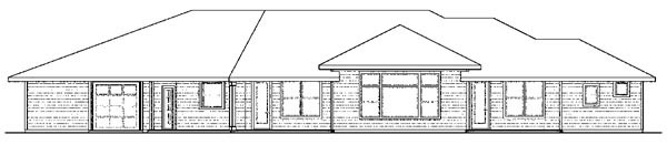 Bungalow, Florida, Ranch House Plan 59421 with 3 Beds, 3 Baths, 4 Car Garage Rear Elevation