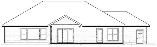 Craftsman European Ranch Traditional House Plan 59423 Rear Elevation