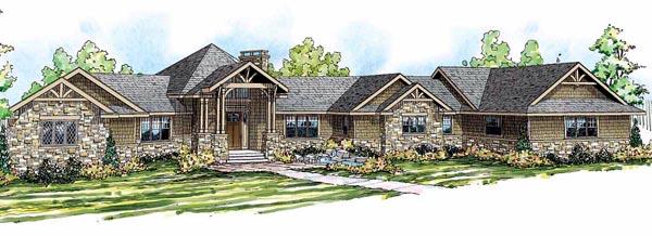 Craftsman Ranch House Plan 59424 Elevation