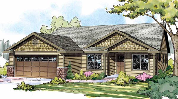Cottage Country Craftsman European Elevation of Plan 59426