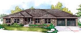 Contemporary European Ranch Traditional House Plan 59427 Elevation