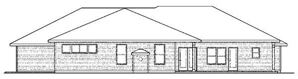 Contemporary European Ranch Traditional House Plan 59427 Rear Elevation