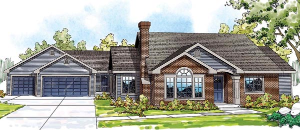 Cottage, European, Ranch, Traditional House Plan 59428 with 5 Beds, 3 Baths, 3 Car Garage Front Elevation