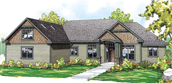Cape Cod Cottage Craftsman Ranch House Plan 59429 Elevation