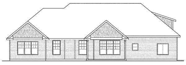 Cape Cod Cottage Craftsman Ranch House Plan 59429 Rear Elevation