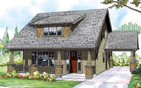 Bungalow , Cape Cod , Cottage , Country , Craftsman House Plan 59430 with 3 Beds, 3 Baths, 2 Car Garage Elevation