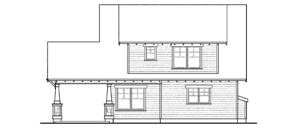Bungalow , Cape Cod , Cottage , Country , Craftsman House Plan 59430 with 3 Beds, 3 Baths, 2 Car Garage Rear Elevation
