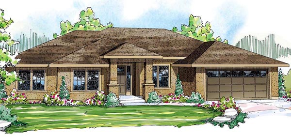 Contemporary Florida Mediterranean Ranch House Plan 59431 Elevation