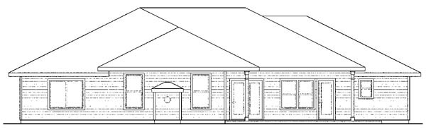Contemporary Florida Mediterranean Ranch House Plan 59431 Rear Elevation