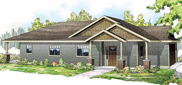 Contemporary Cottage Craftsman Florida Ranch House Plan 59433 Elevation