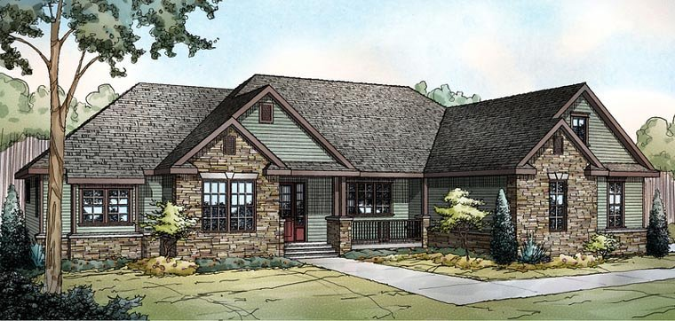 Contemporary , Country , Craftsman , Traditional House Plan 59436 with 3 Beds, 3 Baths, 2 Car Garage Elevation