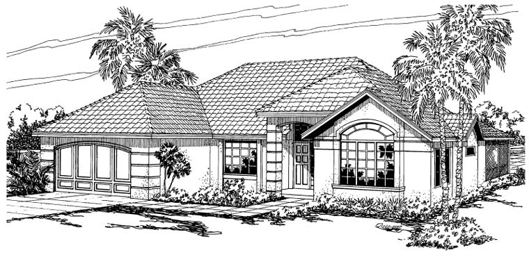 Mediterranean, Ranch House Plan 59437 with 3 Beds, 2 Baths, 2 Car Garage Elevation