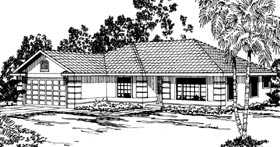 Ranch , Florida , Contemporary House Plan 59439 with 3 Beds, 2 Baths, 2 Car Garage Elevation