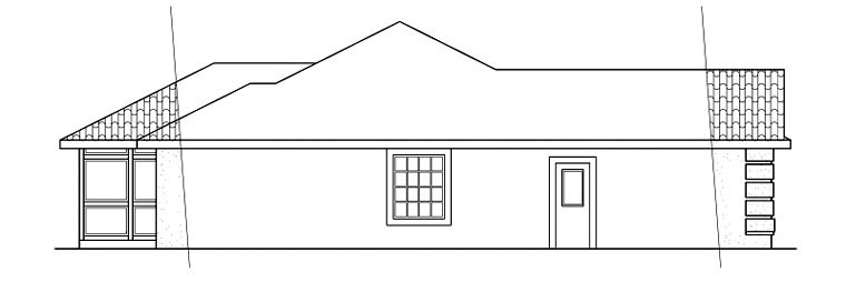 Contemporary, Florida, Ranch House Plan 59439 with 3 Beds, 2 Baths, 2 Car Garage Picture 1