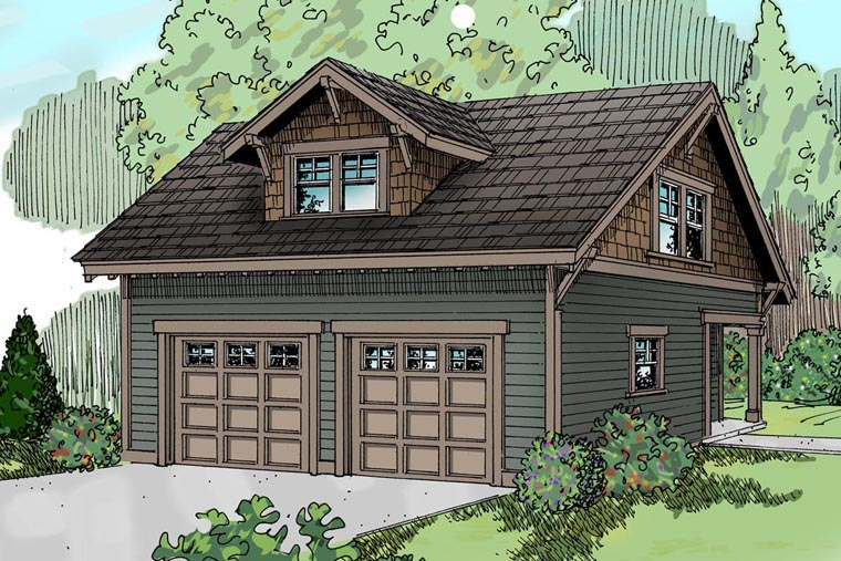 Country , Craftsman , Traditional 2 Car Garage Apartment Plan 59446, 1 Baths Elevation