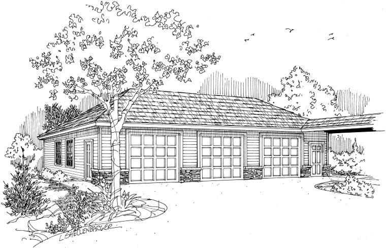Ranch Traditional Garage Plan 59447 Elevation