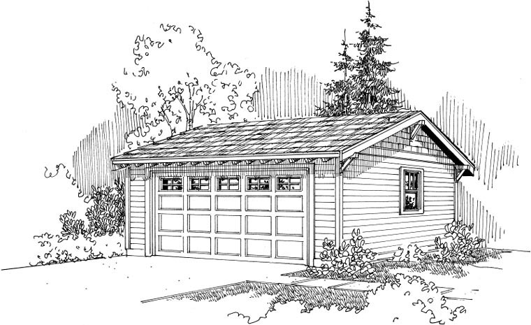 Garage Plan 59448 | Craftsman Ranch Traditional Style Plan, 2 Car Garage Elevation