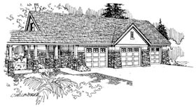 European , Traditional 3 Car Garage Apartment Plan 59451 Elevation