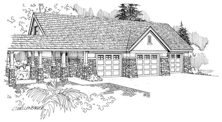 European Traditional Garage Plan 59451 Elevation