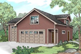 Country , Craftsman , Traditional 3 Car Garage Apartment Plan 59452, 1 Baths, RV Storage Elevation