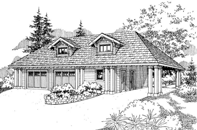 Craftsman 3 Car Garage Plan 59456 Elevation