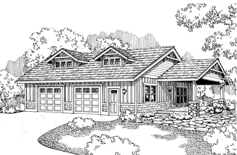 Craftsman Elevation of Plan 59457