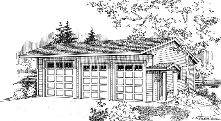 Traditional 6 Car Garage Plan 59460 Elevation
