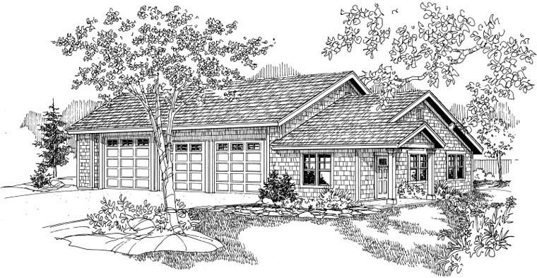 Craftsman 3 Car Garage Plan 59464 Elevation