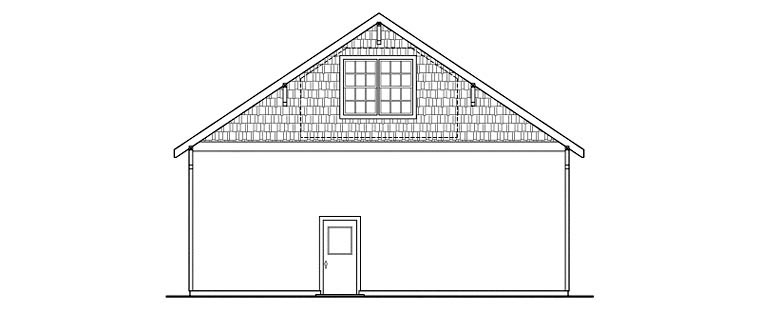 Craftsman Rear Elevation of Plan 59466