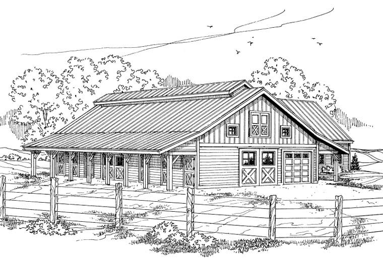 Country 0 Car Garage Plan 59467 with 1 Beds, 1 Baths Elevation