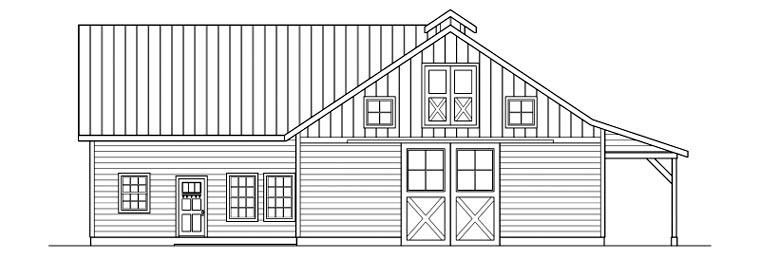 Country 0 Car Garage Plan 59467 with 1 Beds, 1 Baths Rear Elevation