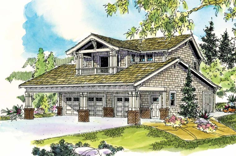 Bungalow Craftsman Garage Plan 59472 Elevation