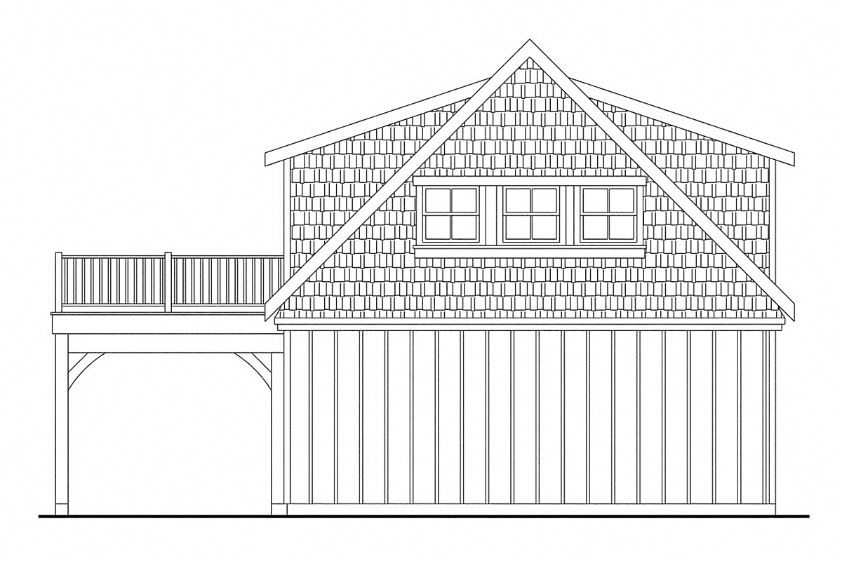Bungalow Cottage Craftsman Garage Plan 59475 Rear Elevation