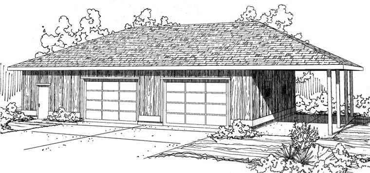Contemporary, Traditional 3 Car Garage Plan 59477 Elevation