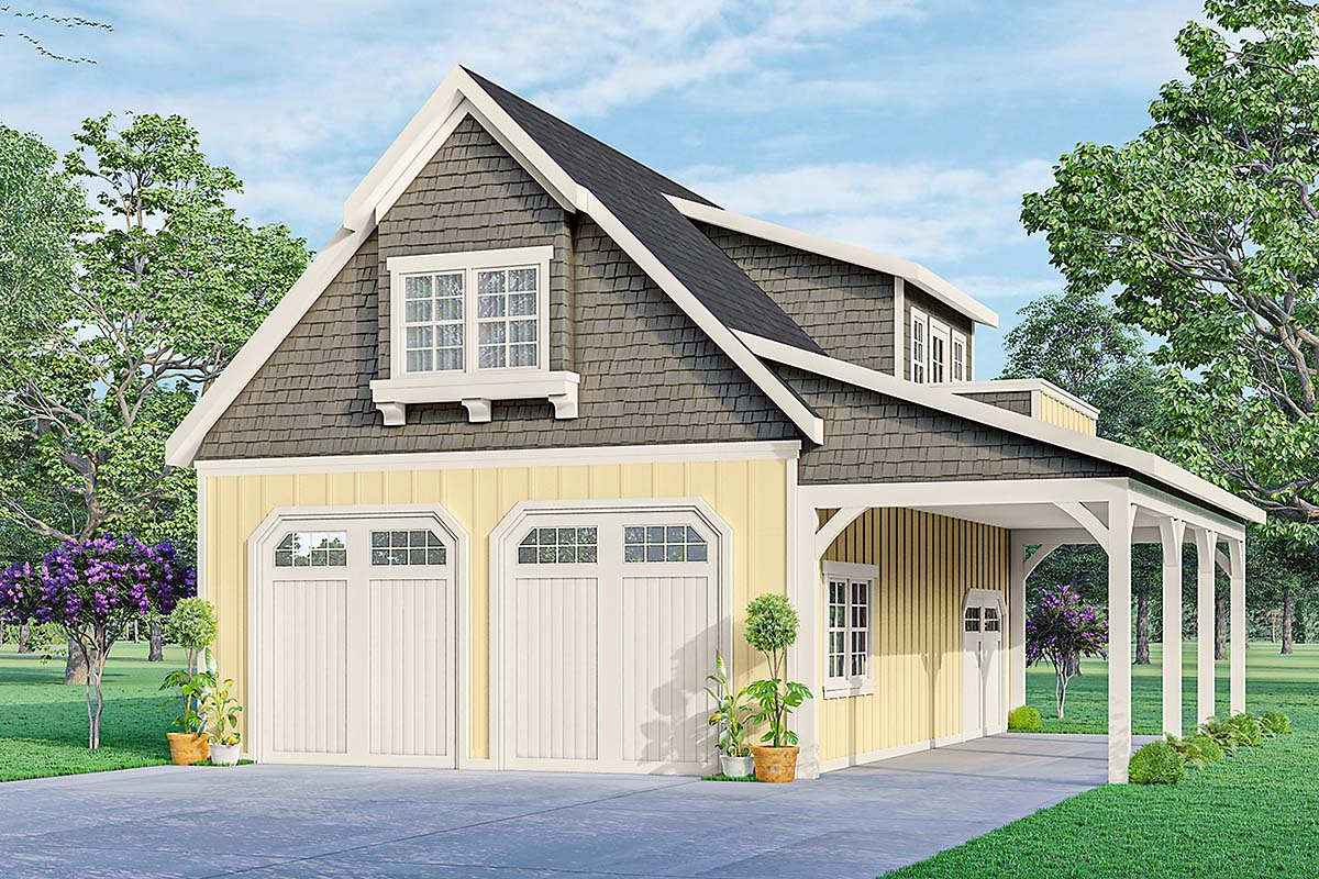 Country, Craftsman 2 Car Garage Plan 59478 Elevation