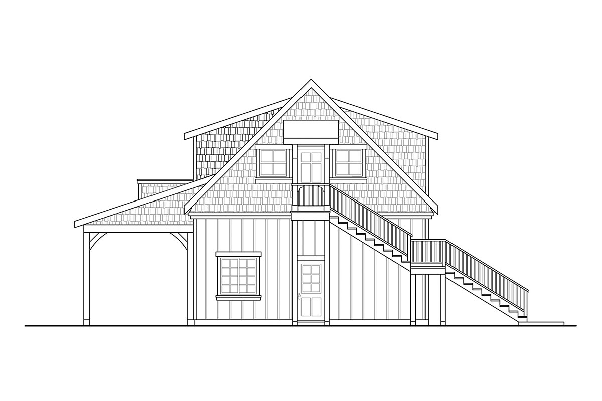 Country , Craftsman 2 Car Garage Plan 59478 Rear Elevation
