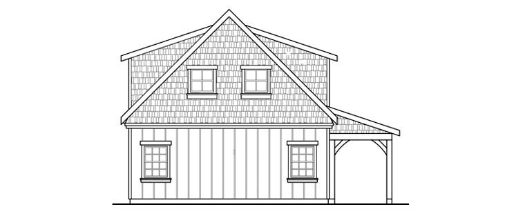 Craftsman , Rear Elevation of Plan 59479